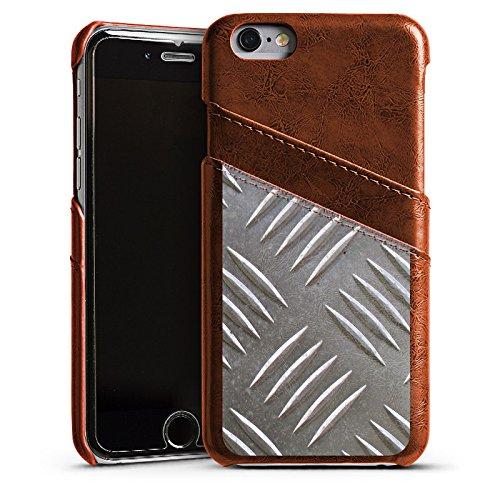 Apple iPhone 5s Housse Étui Protection Coque Protection en tôle Acier Motif Étui en cuir marron