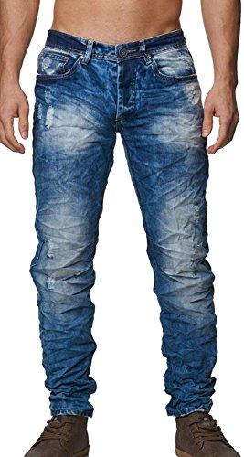 1003 Jeansnet Herren destroyed Jeans Blau