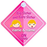Big Sister And Baby Sister On Board Car Sign New Baby / Child Gift / Present