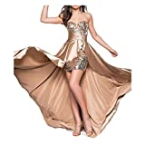 Lanrui Damen Brautjunfernkleid Abendkleid Partykleid Maxikleid Brautkleid Ballkleid TOP (2XL, A Champagnerfarbe)