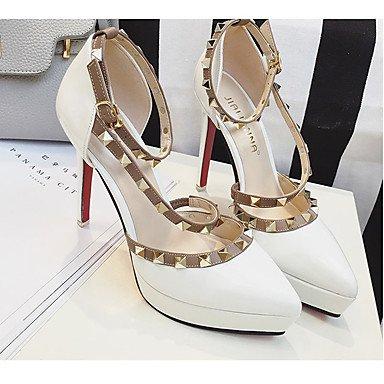 Moda Donna Sandali Sexy donna estate tacchi tacchi in pelle di brevetto Casual Stiletto Heel cordone rosa / rosso / bianco / grigio altri White