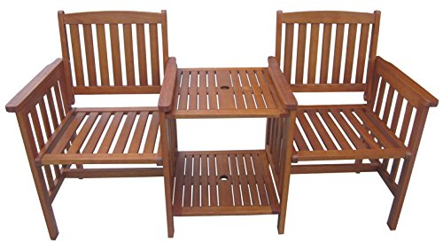 Rite Season KCW928MU Sitzbank mit Tisch Grande, 2-Sitzer, integriert, FSC Eukalyptus