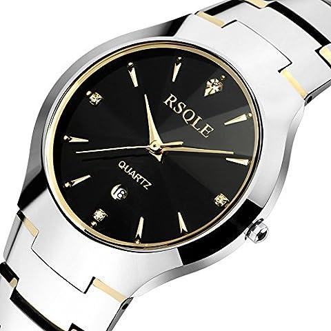 Casuale di affari orologio da polso al uomo quarzo impermeabile in acciaio band orologi , gold