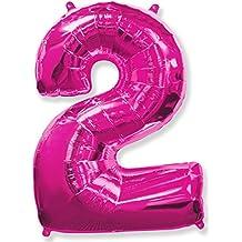 (OFERTA ANTES 5,95€) Globo número 2 para fiestas de cumpleaños, XXL Medida 100 cm, inflándolo con HELIO flotará durante 5/6 días. (FUCSIA)