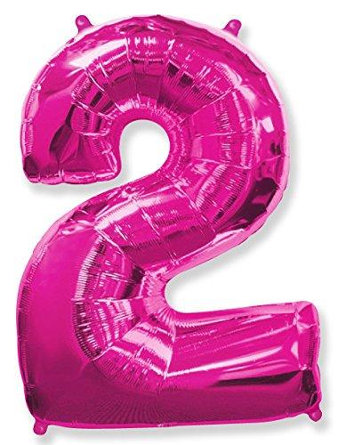 FIESTADEKOR (Oferta Antes 5,95€) Globo número 2 para Fiestas de cumpleaños, XXL Medida 100 cm, inflándolo con Helio flotará Durante 5/6 días. (Fucsia)