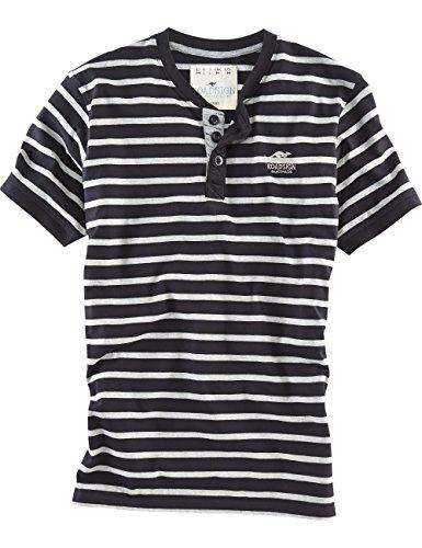 ROADSIGN australia Kurzarm Henley-Shirt Buschi Spirit schwarz / graumelange