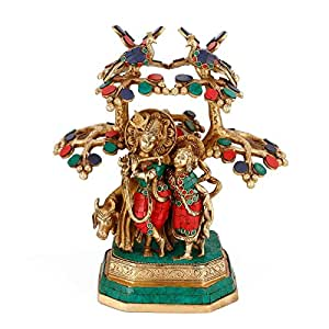 "Collectible India 12"" Radha Krishna Idol Showpiece Brass With Turquoise Statue Sculpture Murti"