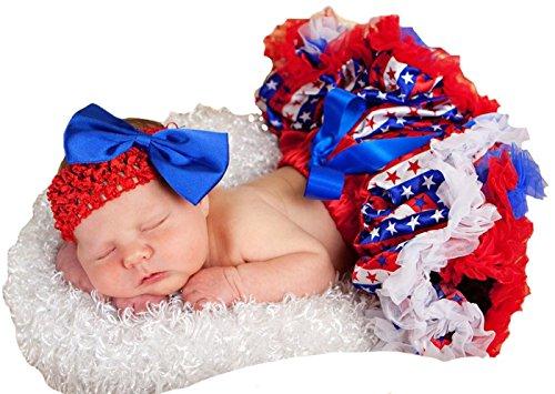 USA Flag Dress Striped Stars Red White Blue Baby Skirt Tutu Girl Clothing 3-12m (Rot Weiß Blau)