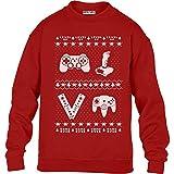 KIDS Retro Weihnachspullover Controllers für Gamer Kinder Pullover Sweatshirt XL 152/164 (12-14J) Rot