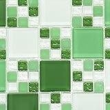 Mosaik Fliese Transluzent grün Kombination Glasmosaik Crystal grün grün matt für WAND BAD WC DUSCHE KÜCHE FLIESENSPIEGEL THEKENVERKLEIDUNG BADEWANNENVERKLEIDUNG Mosaikmatte Mosaikplatte