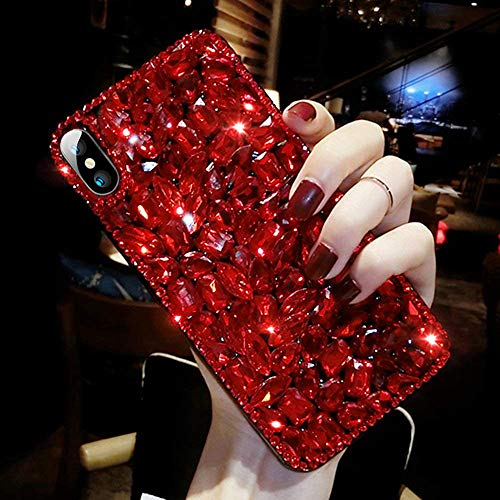 ikasus Schutzhülle für iPhone XR, mit Strasssteinen, 3D-Design, handgefertigt, mit Strasssteinen, luxuriös, glitzernd, für Mädchen und Frauen iPhone XR rot (Zu Phone I Verkaufen)