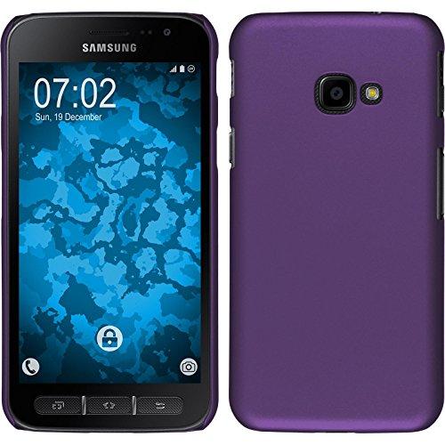 PhoneNatic Case für Samsung Galaxy Xcover 4 Hülle lila gummiert Hard-case + 2 Schutzfolien (Lila Case Hard)