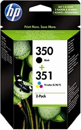 HP 350-351 Combo Pack SD412EE Cartucce Originali per Stampanti a Getto di Inchiostro Deskjet D4260, D4300, Photosmart C5280, C4200, Officejet J5780, J5730, Confezione da 2, Nero e Tricromia