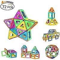AMZtronics Blocchi Magnetici 72 Pezzi Ispirati alla Costruzione Giocattoli Educativi 3D Colore dell'arcobaleno Perfetto Giocattolo e Regalo per Bambini