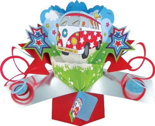 Suki Gifts POP092 Pop Up Grusskarte, VW Camper Bus/Geburtstag, mehrfarbig