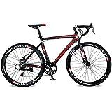 KINGTTU 2016 Nueva 52cm Negro Rojo XC760 Aluminio Shimano TZ 50 14 Envío Bici del Cambio 700C para Hombre camino de la Bicicleta de Freno de Disco