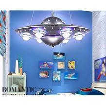 FGSGZ Lámpara Para Colgar La Lámpara De La Nave Espacial Ovni Creativo De Dibujos Animados De Los Niños De Dormitorio Luces Niños Sala De Iluminación De Control Remoto (Color: Plata)