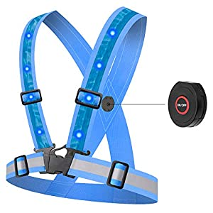 HEAWAA LED Reflektorweste mit 12 LED Lichter, Reflektierende Weste Warnweste Sicherheitsweste mit 360° High Reflector, Einstellbar für Laufen Outdoor Sports