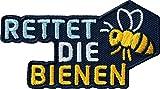 2 x Rettet die Bienen Abzeichen 72x41 mm gestickt / Schutz für Insekten Naturschutz Flora Fauna Stop Pestizide / Insektenführer Naturführer Pflanzenführer Imker Bienenzucht halten Honig Bienenwachs
