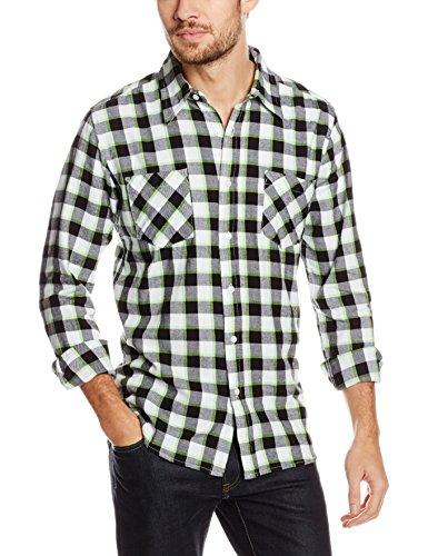 Urban Classics Herren Freizeithemd Tricolor Checked Light Flanell Shirt Mehrfarbig (Blkwhtlgr 62)