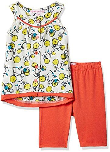 Nauti Nati Baby Girls' Clothing Set (NSS17-358_6-12M_Orange and Yellow)