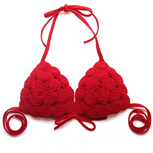 RELLECIGA Damen Bademode Triangel Extra Push-up Bikini 3D-Effekt Handmade Blumen MARIANNE Rot