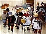 Posterlounge Forex-Platte 40 x 30 cm: Beim Verlassen der Klasse von Henri Jules Jean Geoffroy/Bridgeman Images