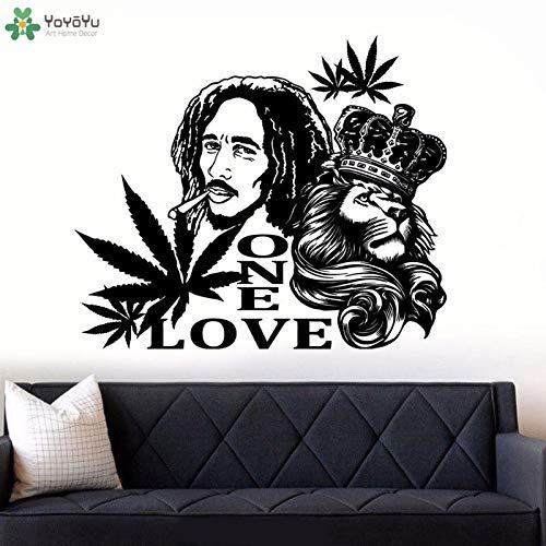 fancjj Bob Marley Lion EINE Liebe Wandaufkleber Wohnzimmer Dekoration Abziehbilder Reggae Musik Wandkunst Wandbilder Removable Wallpaper 57x69cm - Wallpaper Hot Rod