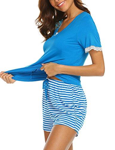 UNibelle Damen Shorty 2-tlg. Schlafanzug Baumwolle Pyjama Set Kurz Nachtwäsche Kurzarm Shirt & Shorts Unifarbe Schwarz/Weinrot/Sauer Blau (Blau 2 Baumwolle Set Pyjama)