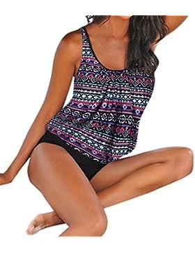 SHOBDW Mujeres Más Tamaño Impreso Tankini Bikini Traje de Baño Bañador Traje