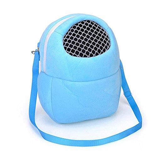 HYGMall 1PC Hängen Für Kleine tiere Reise Reine Farbe Hamster Tasche Ratte Igel Frettchen Pet Carrier Schlaf Handtasche Tragbare Urin Reisetasche (L, Blau) (Blau Frettchen)