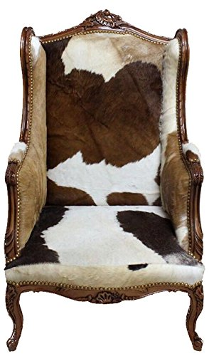 Casa Padrino Barock Lounge Thron Sessel Kuhfell Mod3 - Ohren Sessel - Ohrensessel Tron Stuhl -...