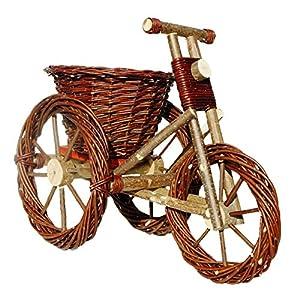 Deko-Dreirad, Pflanzschale, Dreirad aus Weide geflochten – 53 x 31 cm Dunkelbraun