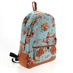 sac dos main femme fille cuir pu leather pour randonee vacances camping college bleu. Black Bedroom Furniture Sets. Home Design Ideas