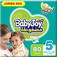 BabyJoy Compressed Diamond Pad, Size 5, Junior, 14-25 kg, Jumbo Box, 80 Diapers