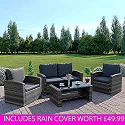 New Algarve Rattan Wicker Weave Garden Furniture Patio Conservatory Sofa Set (Grey)
