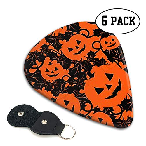 Happy Halloween Pumpkin Celluloid Guitar Picks Premium Picks 6 Pack for Guitar,Mandolin,and Bass 0.46mm, 0.71mm, 0.96mm Optional with PU Leather Pick ()