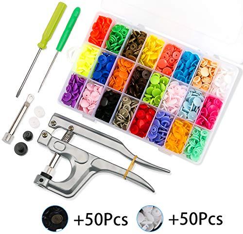 460 Set T5 Plastik Druckknöpfe mit Zange in 24 Farben Nähfrei Buttons für DIY Basteln