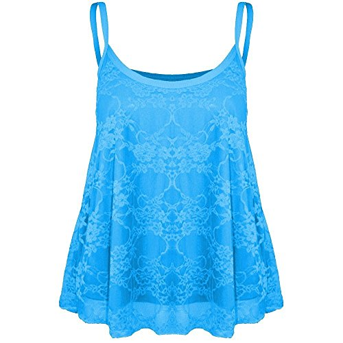Janisramone Womens Ladies New Full Floral Lace Mesh Camisole Strappy Cami Flared Swing Vest Tank Top