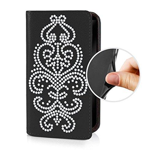 Für Apple iPhone --- 6-Plus --- eSPee Hülle Schutzhülle Wallet Flip Case Schwarz mit Swarovski® Kristallen Ornament UNZERBRECHLICHER Silikon Schale / Bumper und Magnetverschluss