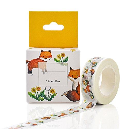 Preisvergleich Produktbild Washi Tape,  hinmay 15 mm * 10 m DIY Papier-Paket,  selbstklebend Motiv Fuchs,  Masking Tape,  für Scrapbooking. Free Size 1