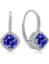 14 ct White Gold Cushion Tanzanite & Round White Diamond Ladies Halo Dangling Drop Earrings