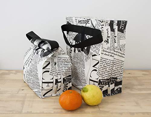 Wasserdichte Tasche mit Griff. Lunchpaket. Tasche für Tupper. Wiederverwendbare Tasche. Eco-Tasche. Tasche für Lebensmittel. Sandwich-Beutel. - Eco Tasche