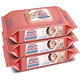 Johnson's Baby Wipes Pack of 3 (80 Wet Wipes per Pack)