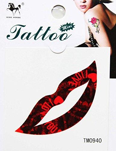 Grashine impermeabile e sudore di un rosso scuro sexy labbra qualche adesivi di tatuaggio