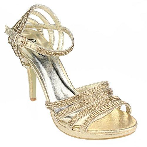 Aarz Femmes Mesdames Soirée de soirée de mariage Prom High Heel Sandal Diamante Bridal Chaussures Taille (Or, Argent, Noir, Champagne, Rouge) Or