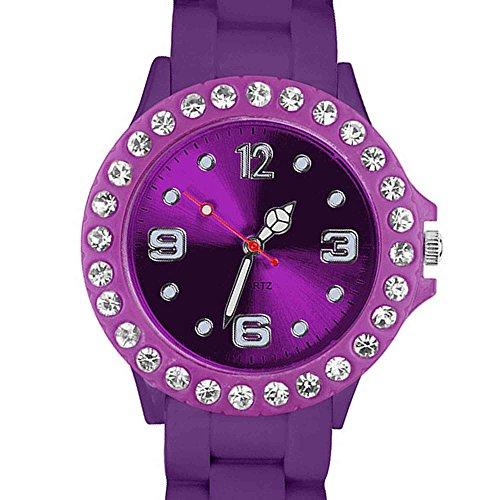 Taffstyle Damen Armbanduhr Sportuhr Silikon mit Strass Kristallen Silikonarmband Damenuhr Farbige Analog Uhr Lila Violett