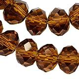 25 TSCHECHISCHE KRISTALL PERLEN GLASPERLEN 4mm x 6mm Topas Braun Facettiert Rondell Glasschliffperlen, Perle zum fädeln für DIY Schmuck Herstellung X65