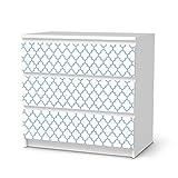 creatisto Klebefolie Sticker Tapete für IKEA Malm 3 Schubladen | Möbel umgestalten Aufkleber Möbel Möbel-Folie | Schöner Wohnen Jugendzimmer Dekoartikel | Muster Ornament Retro Pattern - Blau