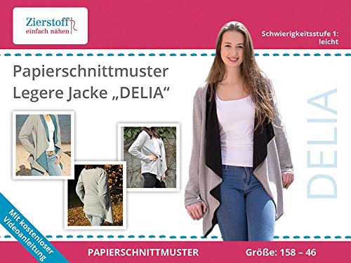 "PAPIERSCHNITTMUSTER, legere Jacke \""DELIA\"", Gr. 158 bis Damengr. 46"